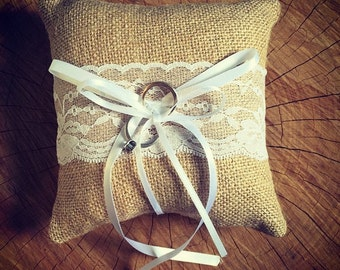 Hessian and lace, rustic wedding ceremony ring bearer pillow/vintage wedding accessories