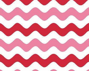 SALE ! < Red Pink Wave C415-14 VALENTINES > Riley Blake Designs < Fabric by the Yard > Chevron Wave