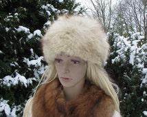 Vintage fox fur HAT CAP womens winter Russian silver fox hat 1970s