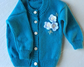 Turquoise knitted baby sweater