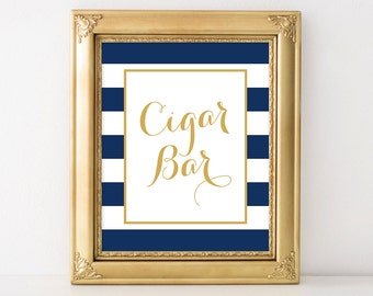 PRINTABLE Cigar Bar Wedding Sign, 8x10 and 5x7 Wedding Digital Print, Nautical Navy Blue & White Wedding Decor, INSTANT DOWNLOAD