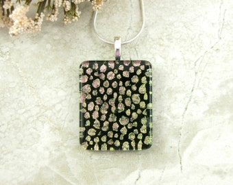 Spotted Dichroic Pendant - Fused Glass Dot Necklace - Copper and Black Polka Dot Pendant