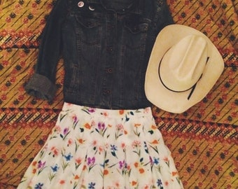 90's Floral Mini Skirt