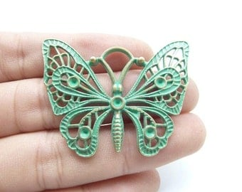 8pcs Butterfly Charms -Antique Bronze Rustic Patina Butterfly Charm Pendant 48x37mm C8204