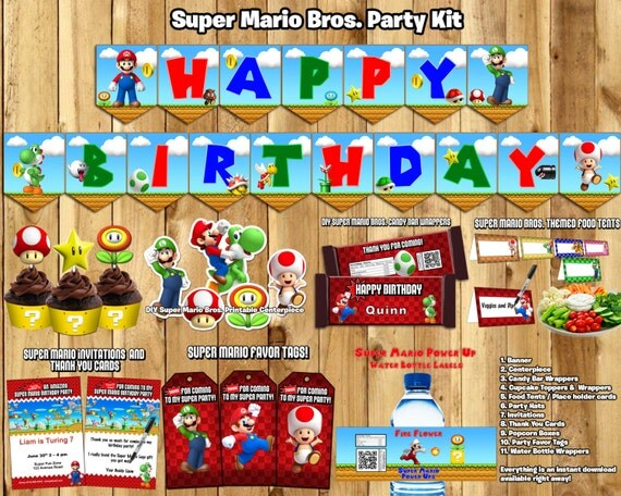 Super Mario Birthday Party Kit Download Banner Invite Cupcake Toppers Favor Tags Bottle labels Centerpiece Super Mario Bros Birthday Party