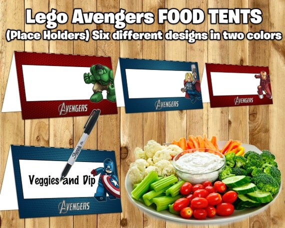 Lego Avengers Inspired Food Tent Cards Lego Avengers Food Tents instant download print Lego Avengers Place Holder Card Avengers Name Cards