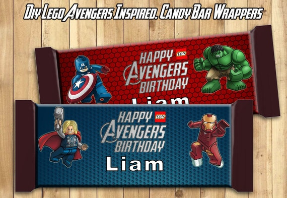 Lego Avengers Candy Bar Wrappers Download Customize Print Lego Avengers Chocolate Bar Wrappers Lego Avengers Chocolate Bar Wraps 1.5 oz 43g