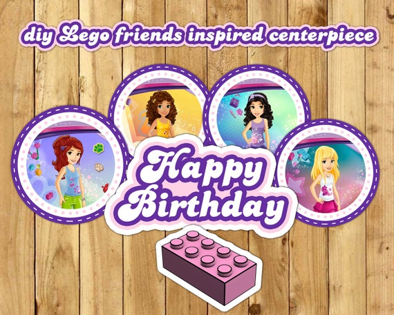 DIY Lego Friends Inspired Centerpiece includes all numbers Download Print Cut Lego Friends Centerpiece Decoration