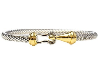 Hook cable cuff - two tone color