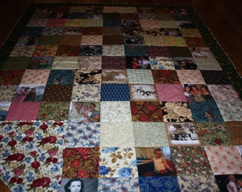 Patchwork Photo Quilt - using family photos -  colorful - Customized Photo Quilt - Heirloom Memory Quilt with Photos - squares and photos