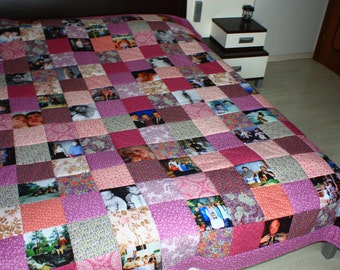 Patchwork Photo Quilt -using family photos - Customized Photo Quilt - Heirloom Memory Quilt with Photos - assorted squares and photos