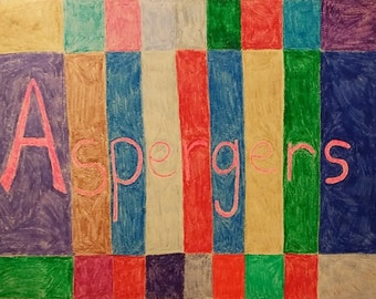 Aspergers syndrome modern colorful crayan drawing