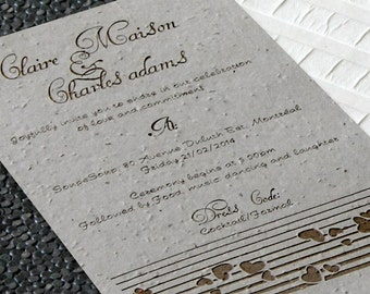 Plantable wedding invitations. Eco-friendly and laser engraved. Heart design, with Reply (RSVP) cards included (PE-EHB)