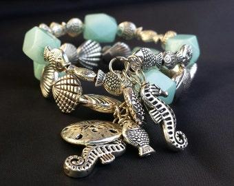 Ocean Life Memory Wire Bracelet, Ocean Bracelet, Beach Bracelet, Wrap Bracelet, Horse Bracelet, Fish Bracelet, Sea Bracelet,