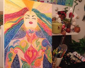 Chakra femine rainbow artwork