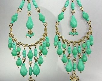 GORGEOUS Turquoise Crystal Beads Chandelier Dangle Earrings, Bohemian Earrings, Cascading Dangle Earrings, FREE SHIPPING!