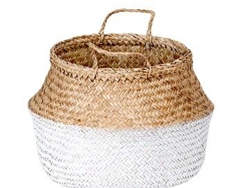 Basket of sea grass OCEAN white