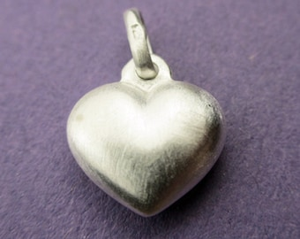 New 11mm x 10mm 925 Sterling Silver Satin Puffed Heart Pendant Charm 1pc