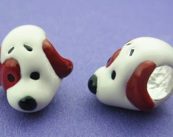 New 10mm 925 Sterling Silver European Style Enamel Spotted Dog Charm Spacer Bead 1pc