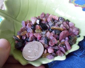 1/4 lb Pink Tourmaline, Green and Black Tourmaline Chip Stones/Crystals