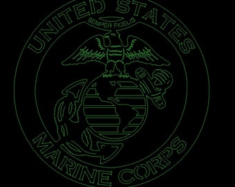 Eagle globe and anchor Marines DXF file for CNC laser, plasma, router, waterjet