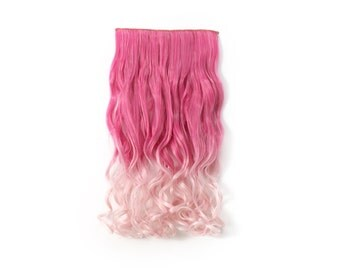 "20"" Curly - 3/4 Full Head Dip-dye Color Synthetic Clip In/on Hair Extensions (Pink Ombre TwoTone-T2127/T2334T)"