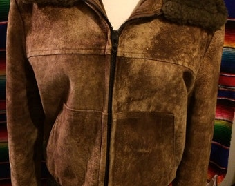 Vintage suede leather mens bohemian 1960's style bomber jacket mens large mens size 44 mens hippie folk style rustic coat