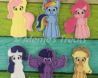 Set of 6 Finger Puppets - Inspired by Pony TV Show