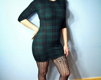 Bottle Green and Black Celtic Tartan Bodycon Mini Dress. Various sizes.