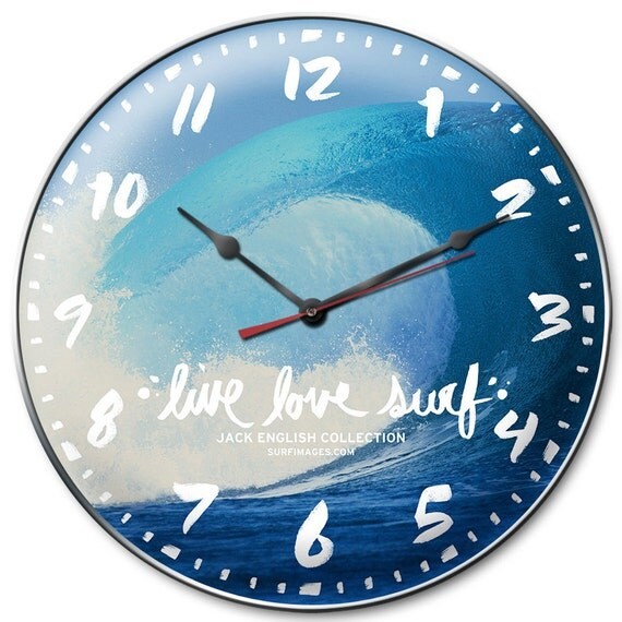 Live Love Surf Wall Clock -  Surfing Wave Photo Taken in Tahiti By Photographer Jack English