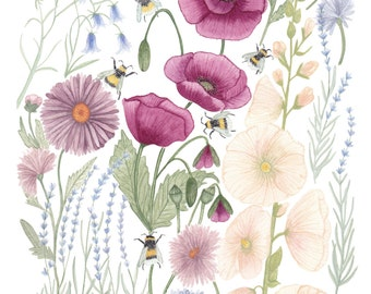 Bee Friendly Flowers - Art Print