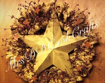 Burlap Wreath, Country Decor, Country Wreath, Star Wreath, Primitive Decor, Farmhouse Decor, Farmhouse Wreath, Door Decor, Door Wreath