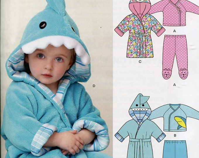 FREE US SHIP New Look 6235 Baby Shark Fox Bath Robe Pajamas New Old Store Stock  Size 7-24 lbs Sewing Pattern Out of Print