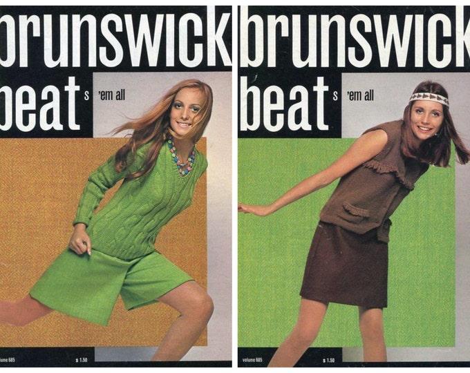 FREE US SHIP Brunswick Knit Crochet 45 pg Book 685 Beats em all 1970's  Fashion Magazine Coats Dress Kids Men Miss Mod Vintage