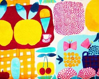Marimekko fabric, Kesätori orange by Aino-Maija Metsola, 145x50cm