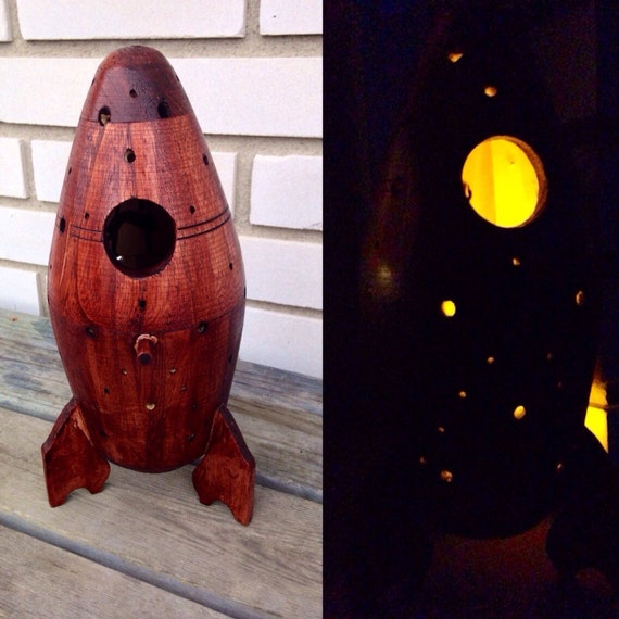 Wood Space Ship Tea Light Holder Outdoor Lighting By