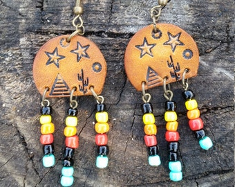Earrings, TeePee and Stars Earrings, Western, Gypsy, Boho, Southwestern Jewelry, Handmade Leather Earrings
