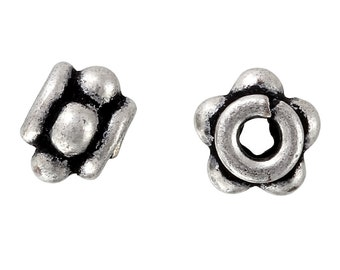 10 Pcs 5x4 mm Silver Plated Bali Style Handmade Spacer Beads (SPL5001023)