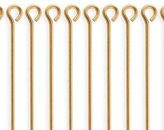 10 Pcs 1.5 Inch 22ga 14K Gold Filled Eye Pins (GF22G15EYP)
