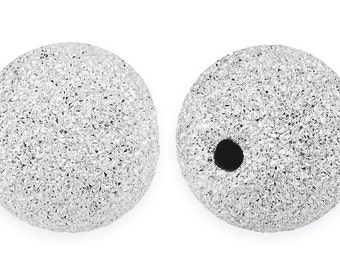 1 Pc 10 mm Sterling Silver Round Stardust Bead (SS520410)