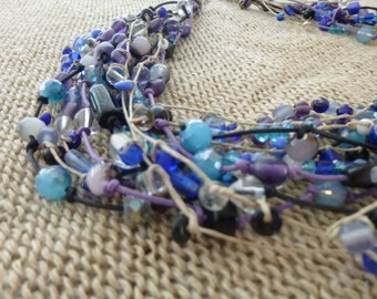 Blue necklace, Purple necklace, Short necklace, Multi strand necklace, Glass necklace, Handmade necklace