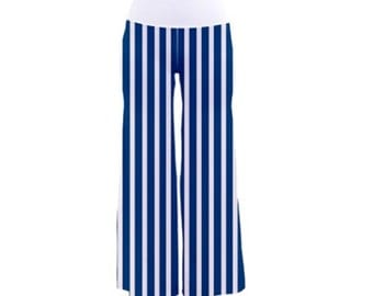 Nautical Striped Chic Palazzo Pants, White or Blue Waistband, Ideal for Day, Evening, Entertaining, Vacation, Free Worldwide Shipping, SALE