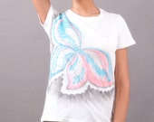 Buterfly t-shirt, hand painted for women, HandMade organic