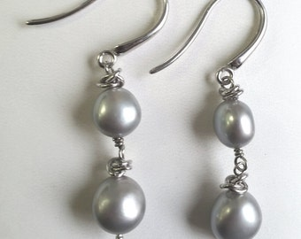 Pearl Silvery Grey 925 Sterling Silver Gray drop earrings tahitian