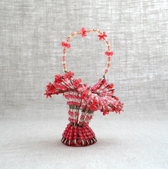 Handmade Beaded Basket : Items similar to vintage bead and pin basket handmade