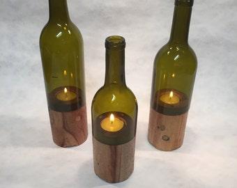 Wine Bottle Candle Tea Light, Wood Base, Glass and Wood Candle, Tea Light Candle,