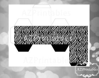 Printable favor box, black, zebra, cute, diy, simple, favor box, digital, 300dpi, theme, instant downlaod