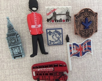 London England Themed Craft Buttons