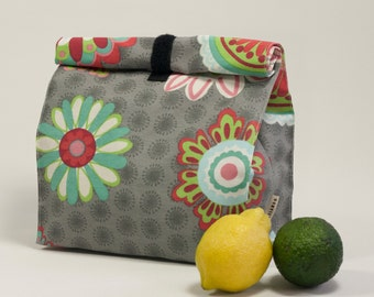 Adult lunch bag. Flowers print. Lunch tote. Food bag. Lunch bag. Reusable lunch bag. Lunch box.