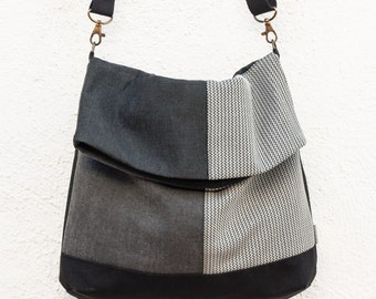 Foldover Crossbody Bag. Grey handbag. Shoulder bag. Fabric bag purse